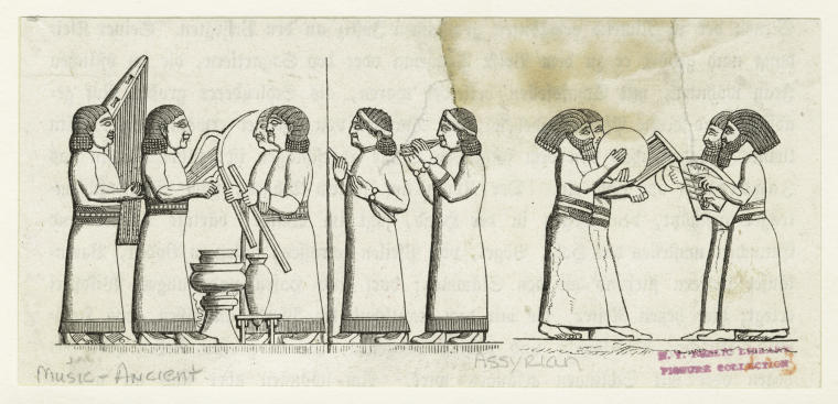 image of Assyrian musicians with different instruments