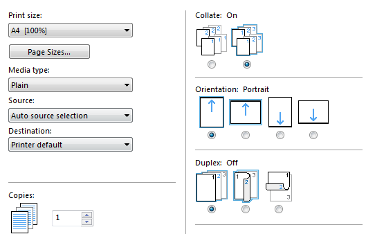 picture of printer properties options