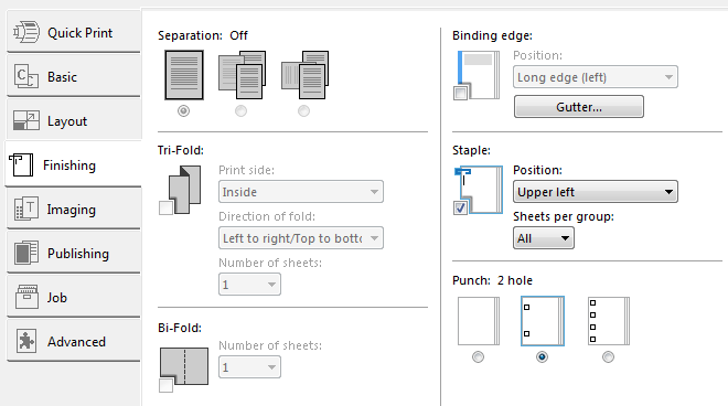 screen shot of staple punch options