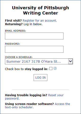 Screenshot of writing center login page