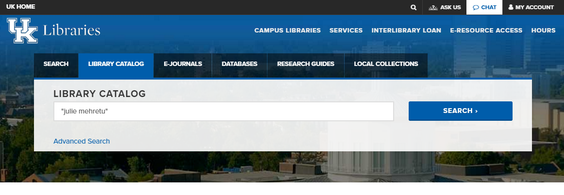 uky libraries website search bar