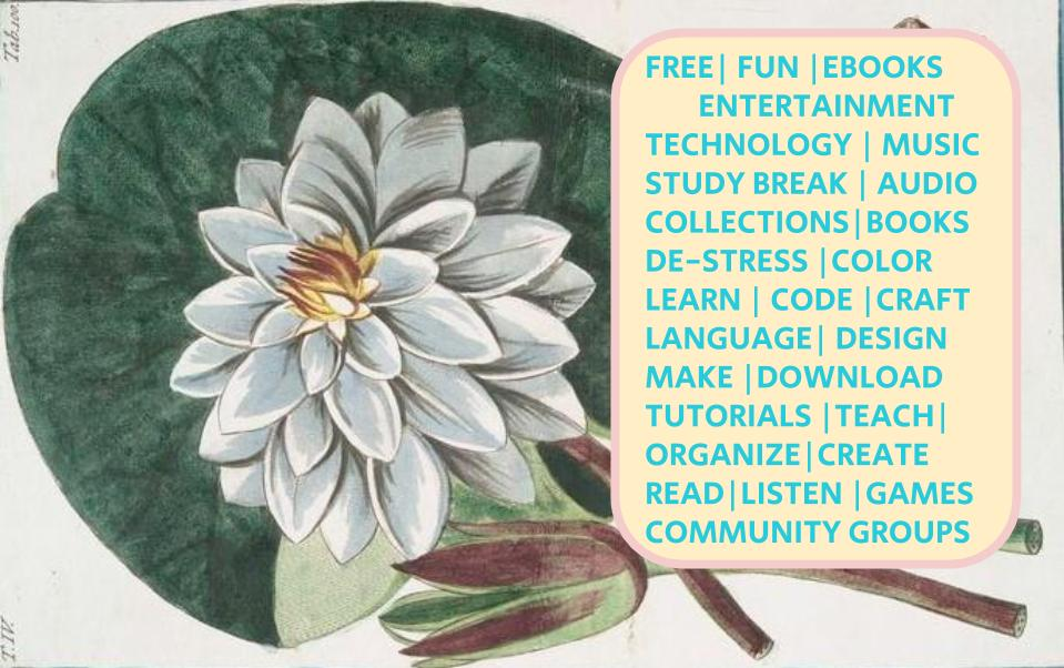 free, fun, ebooks, entertainment, technology, music, study break, audio, collections, books, de-stress, code, learn, craft, language, design, download, make, organize, create teach, tutorials, read, listen, games, community groups