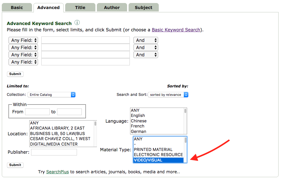 advanced search in the library catalog with Video/Visual selected under Material Type.