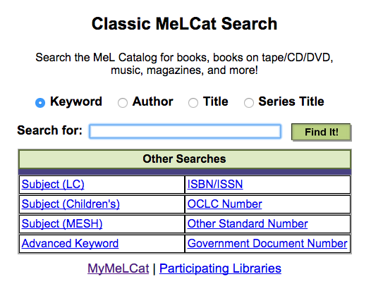MeLCat Search interface. Links to MeLCat Search.