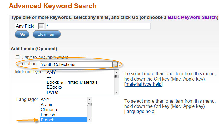 Screenshot of Advanced Keyword Search with Location set to Youth Collection