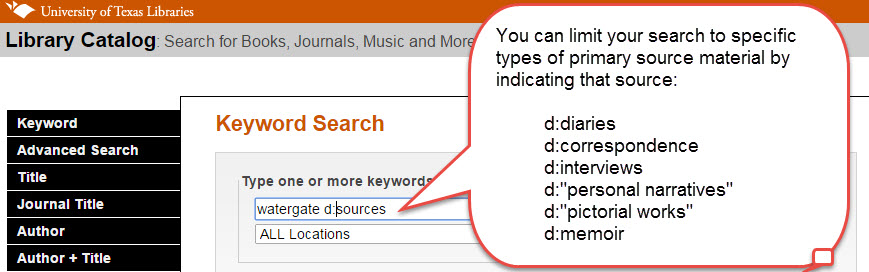 Screenshot of Keyword search for primary sources with example watergate d:sources