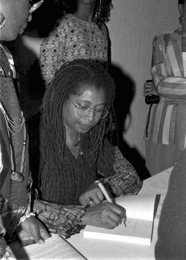 Alice Walker signing autographs at the Zora Neale Hurston Festival of the Arts and Humanities: Eatonville, Florida