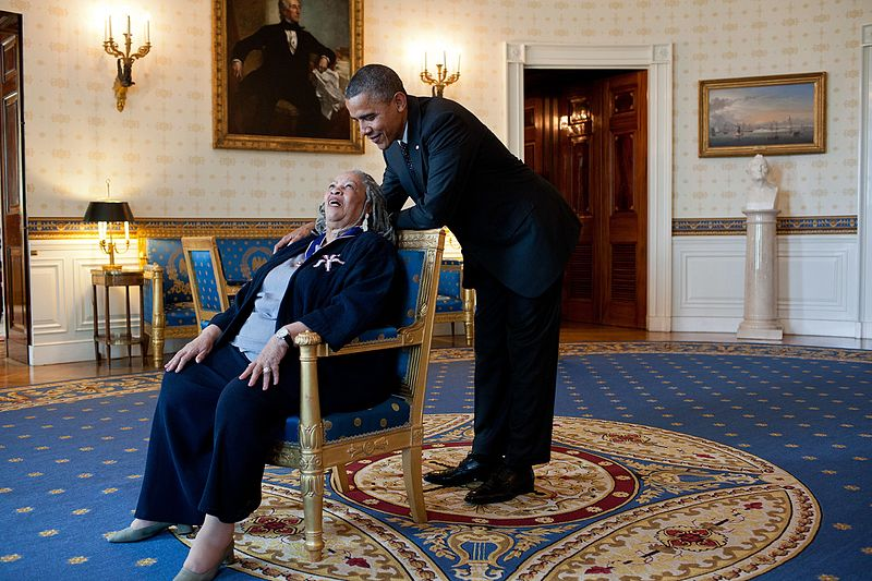 President Barack Obama talks with Presidential Medal of Freedom recipient Toni Morrison in the Blue Room of the White House, May 29, 2012.