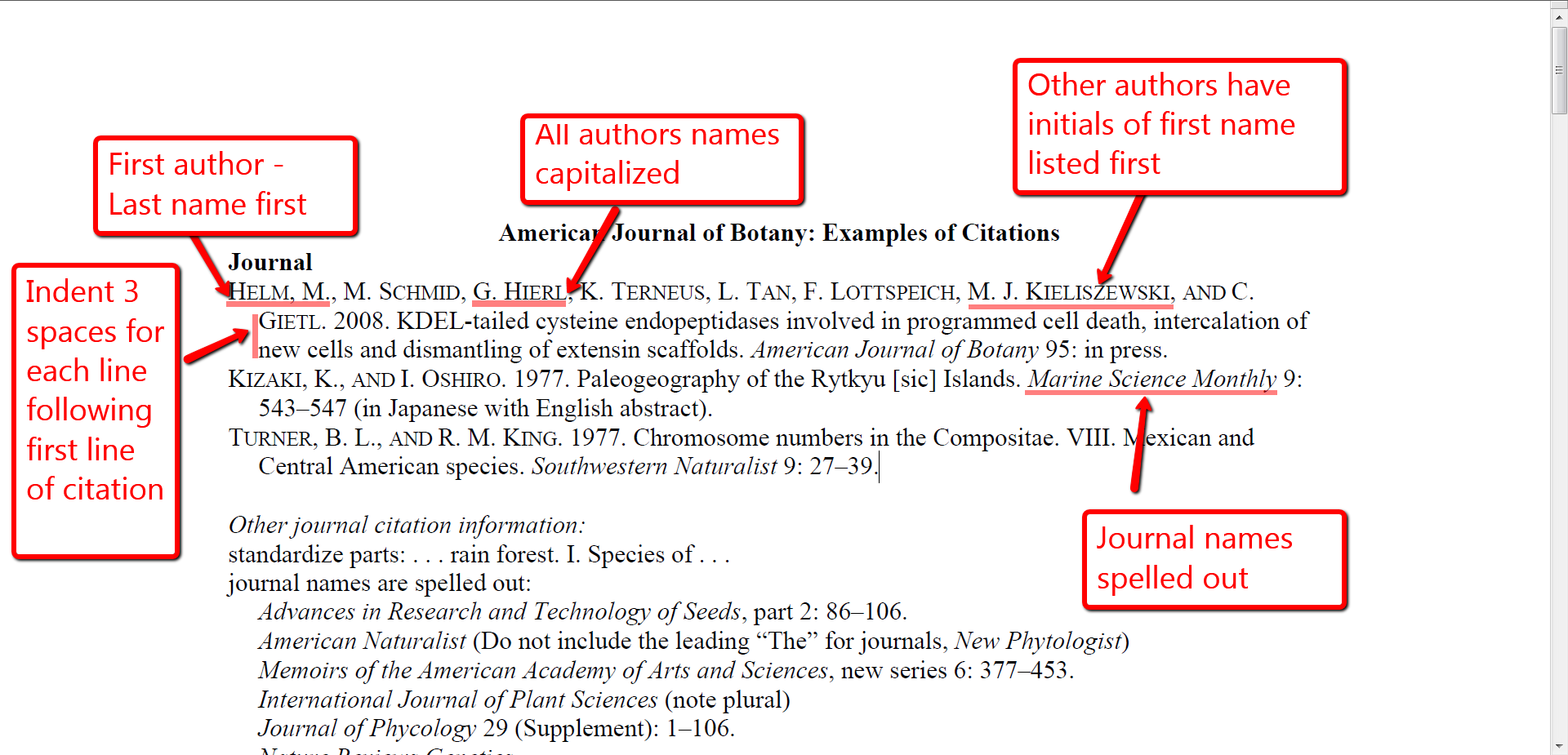 American Journal of Botany Referencing Guide · Citationsy