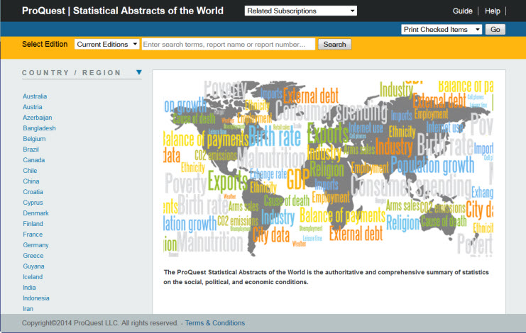 screenshot of Statistical Abstracts of the World page