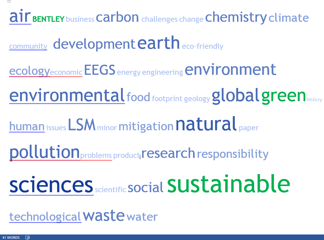 41 recurring environmental study terms including air, business, carbon, challenges, change, chemistry, climate, community, development, earth, eco-friendly, ecology, economics, EEGS, energy, engineering, environment, food, footprint, geology, global, green