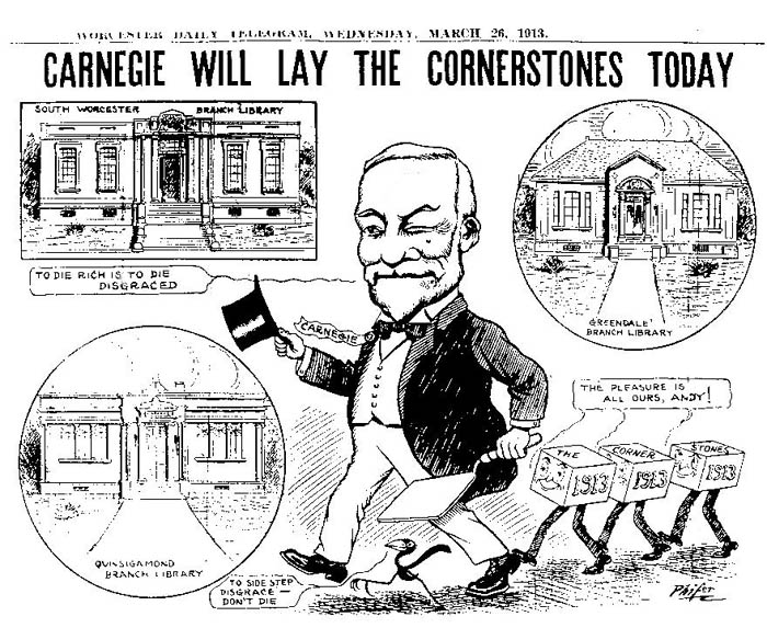 Carnegie will lay the cornerstones today