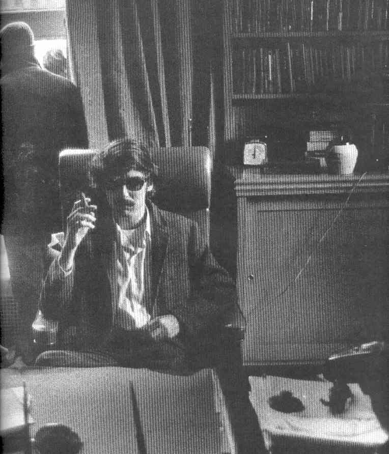 Protester smoking in the President's office at Columbia University's Low Library in 1968