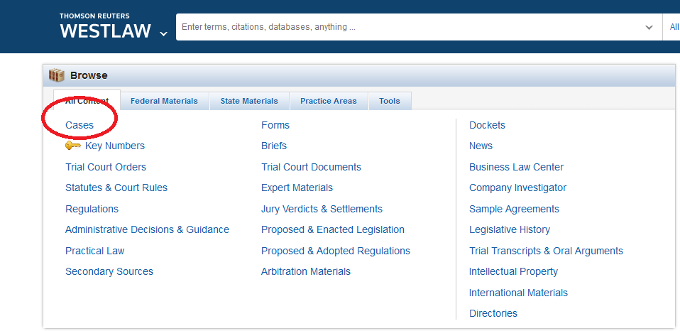 Westlaw: Cases link location screenshot