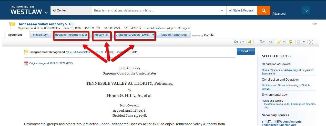 Westlaw screenshot: using KeyCite tabs