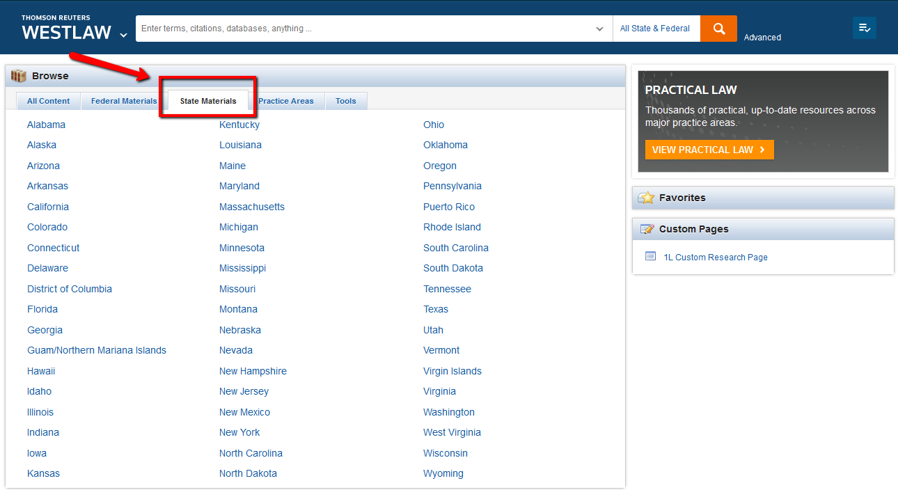 Westlaw screenshot: browsing state materials