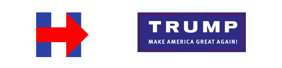 "Hillary Clinton campaign logo of a blue H with a red arrow on the horizontal bar of the H and the trump campaign logo that says ""Trump make America great again!"""