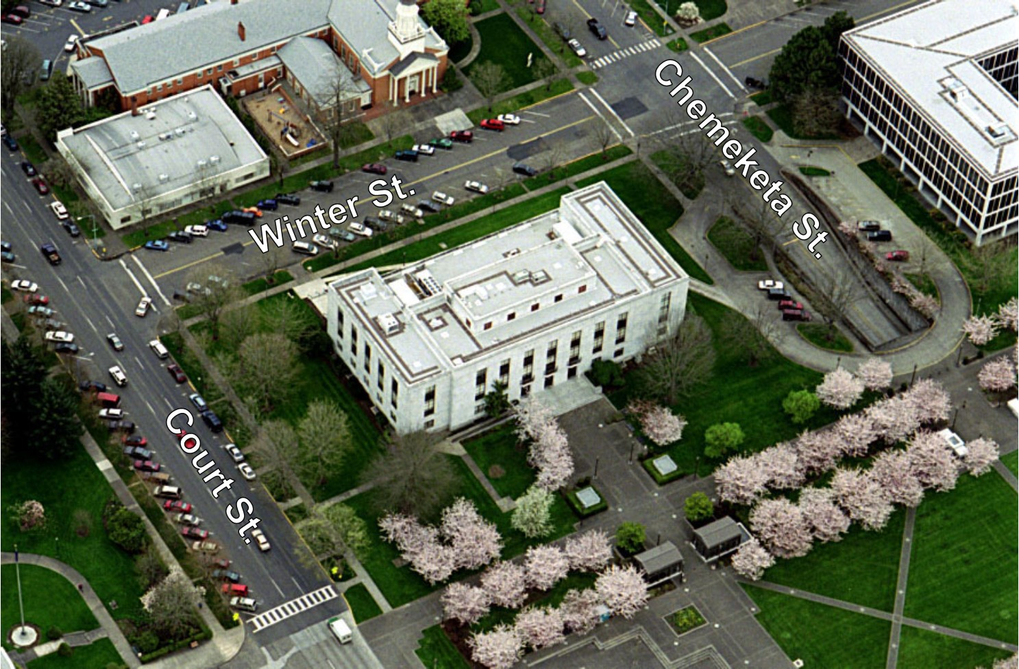 Aerial View of Oregon State Library with Street Labeled