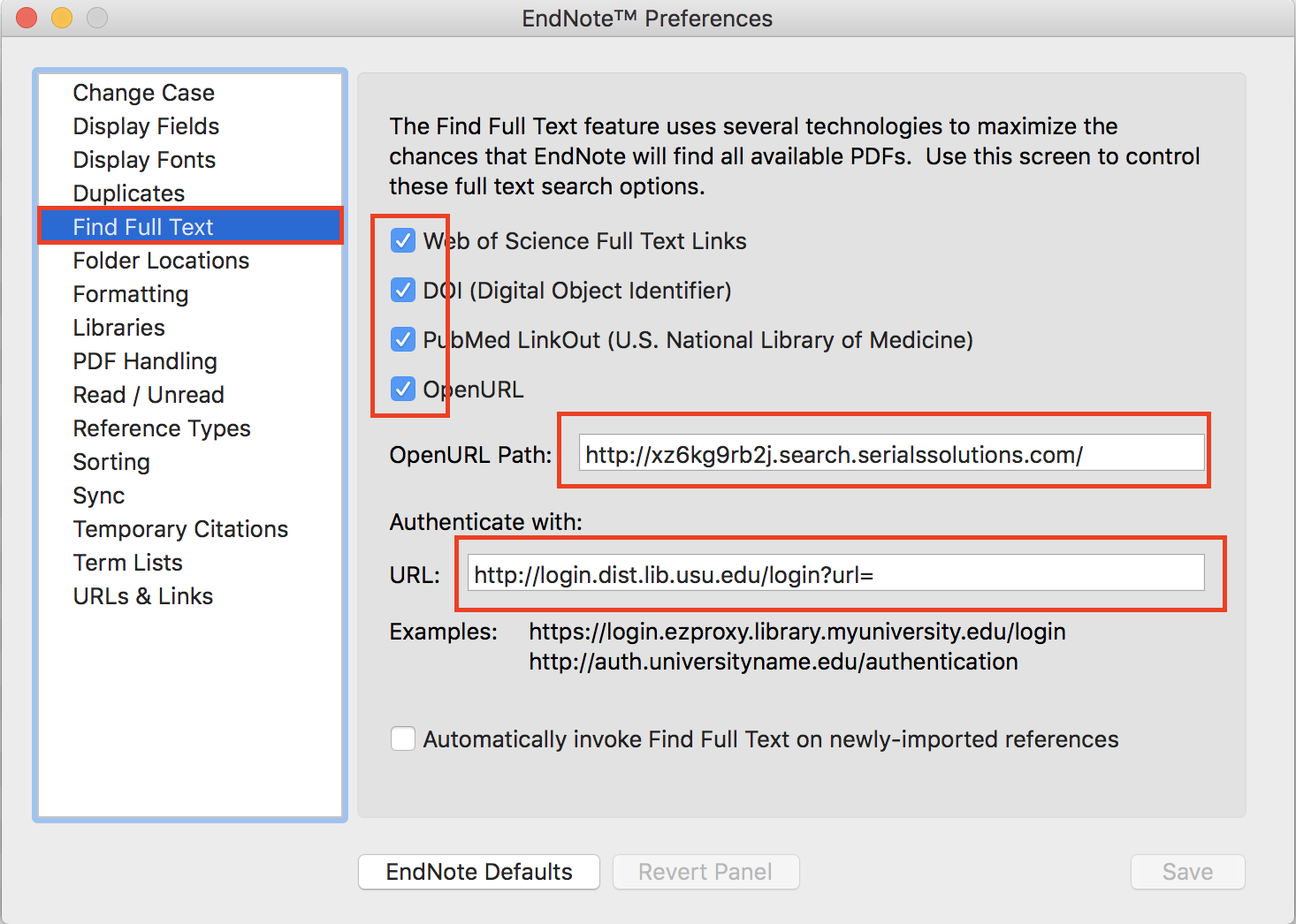EndNote preferences Find Full Text dialog box with OpenURL and authentication information entered