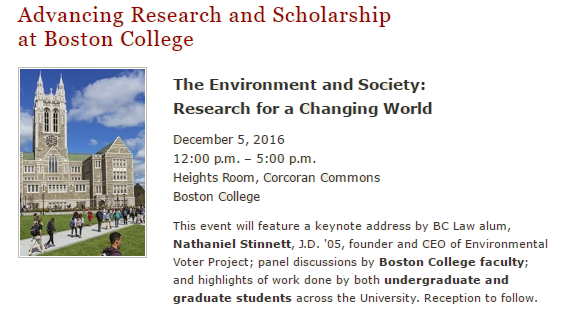 image of flyer for Advancing Research and Scholarship at Boston College 2016