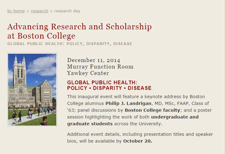 image of flyer for Advancing Research and Scholarship at Boston College 2014