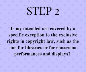 Step 2: Is my intended use covered by a specific exception to the exclusive rights in copyright law, such as the one for libraries or for classroom performances and displays?