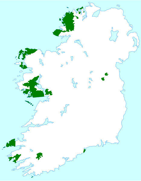 Irish-speaking regions of Ireland on map