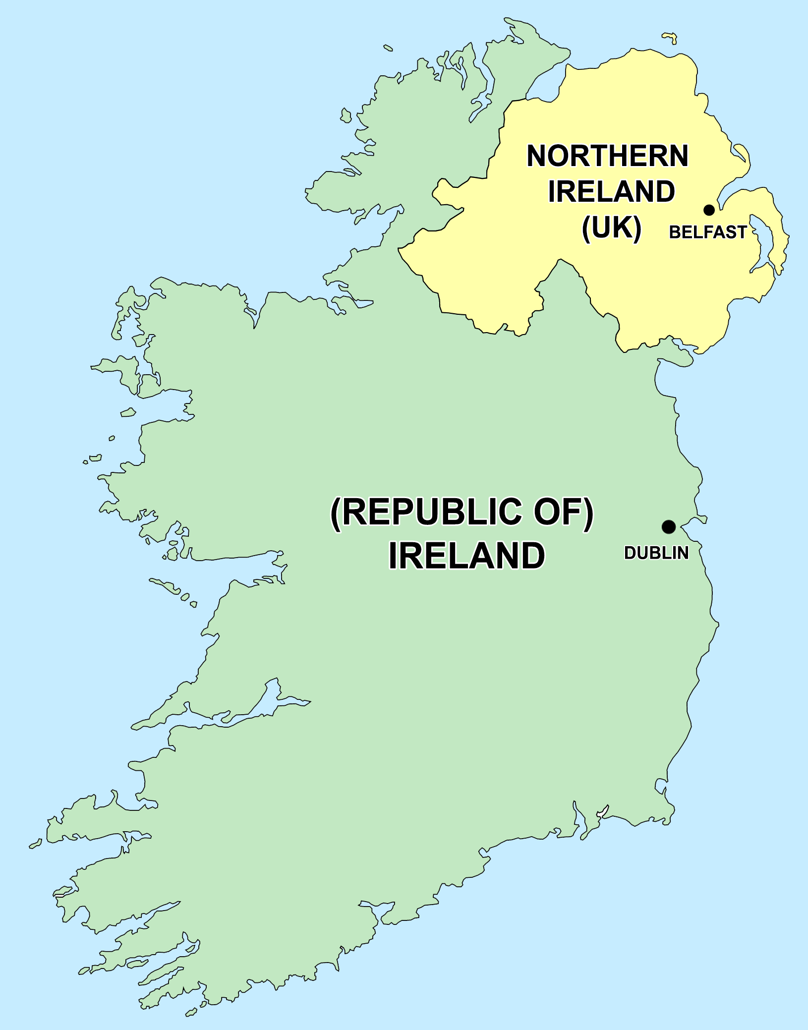 Map of Ireland showing borders between the Republic and the North