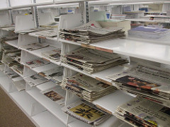 Newspapers on first floor of Hale Library