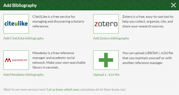 Overleaf and mendeley managing references with latexbibtex click on files then from the drop down list click on bibliography a new pop up screen will appear with 4 options citeulike zotero mendeley and a blank yelopaper Image collections