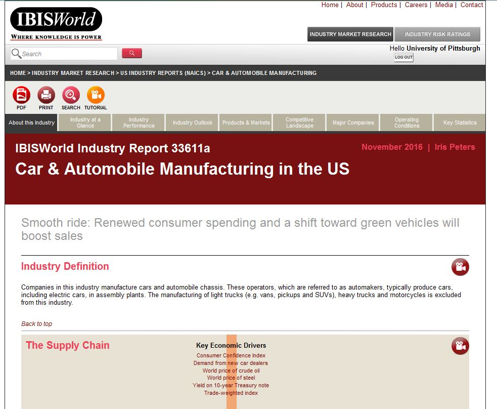 car and automobile industry report home page in IBIS World