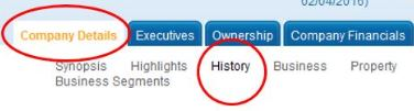 select the company details tab, and the history subtab.