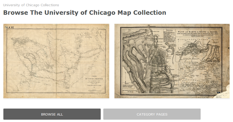 Screen capture of the University of Chicago Map Collection's scanned maps page