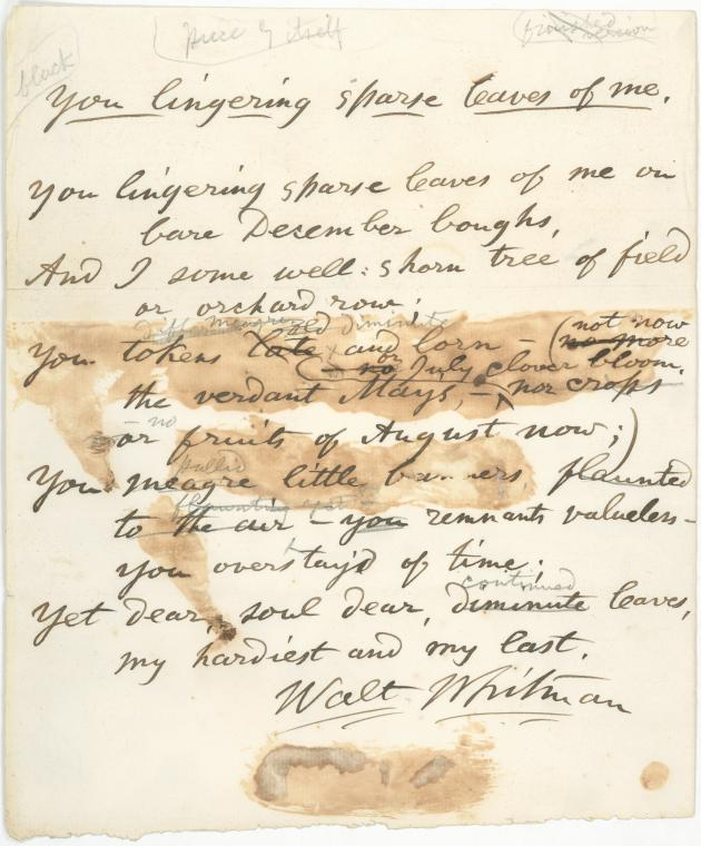 Digital copy of hand-written Walt Whitman poem