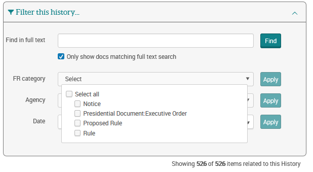 FR (Federal Register) category filter