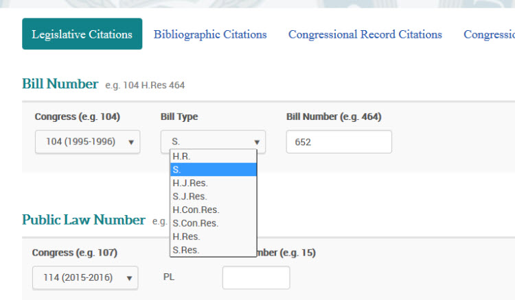 Search by Number - Legislative Citations