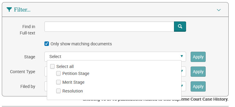 find in full text and filter for stage of the process