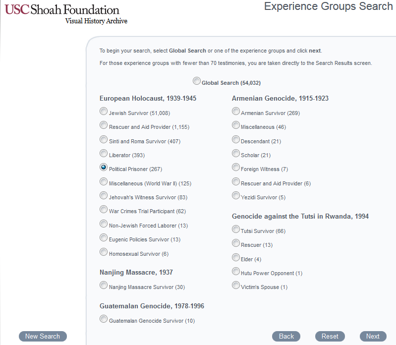 Experience Groups primary search page
