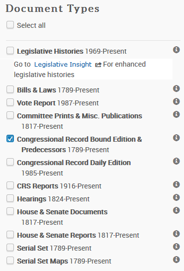 bound Congressional Record on the Advanced Search page