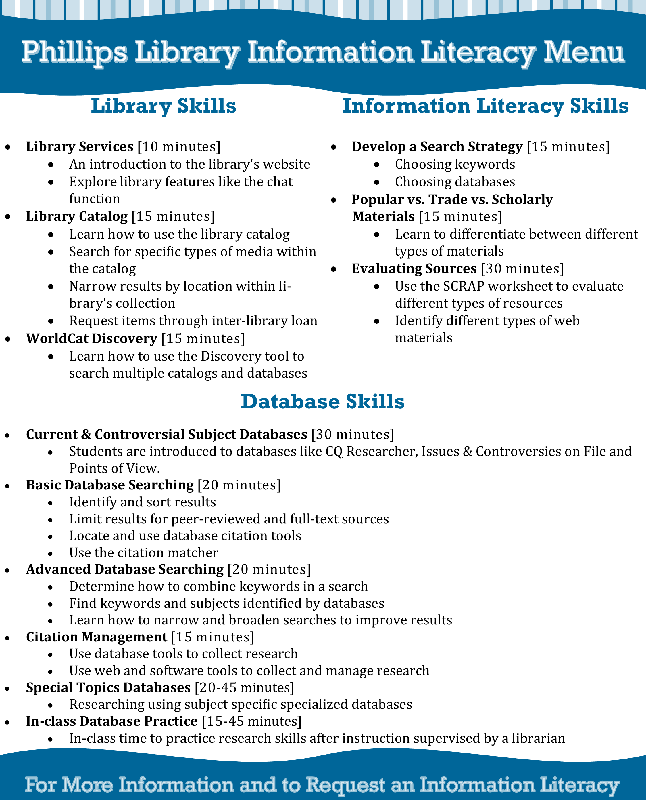 Information Literacy Menu
