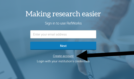 Image of RefWorks website showing where to click to create an account