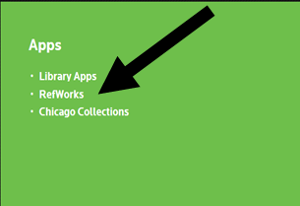 Image from library web page with arrow showing how to access RefWorks