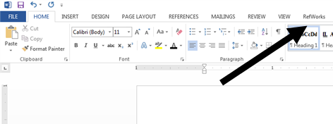 Image showing RefWorks tab on Microsoft Word toolbar (PC version)