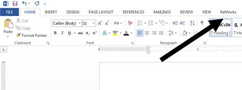 Image showing RefWorks tab on Microsoft Word toolbar (PC version)
