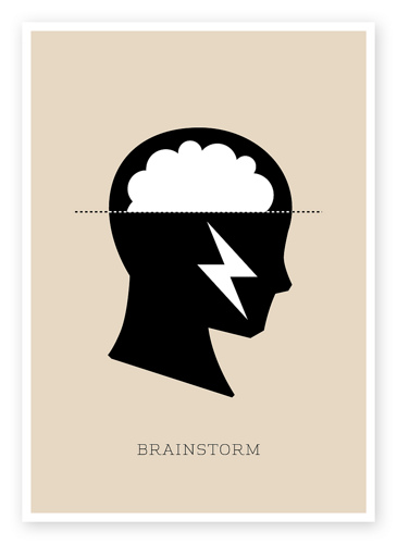 Brainstorm. Picture of head with storm clouds inside of it.