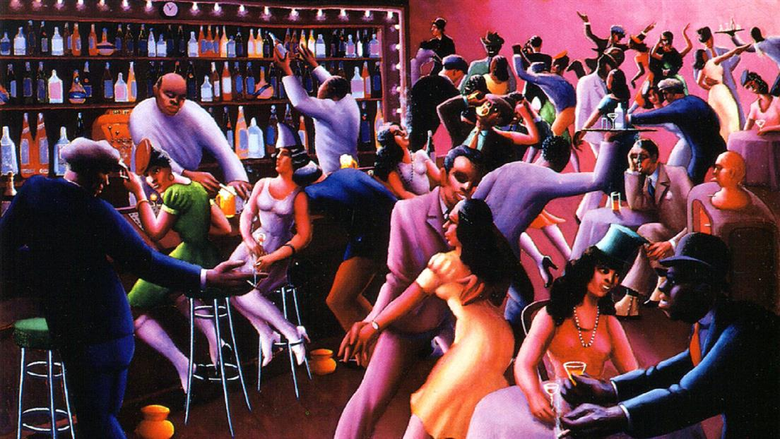 Painting titled nightlife, by Archibald Motley