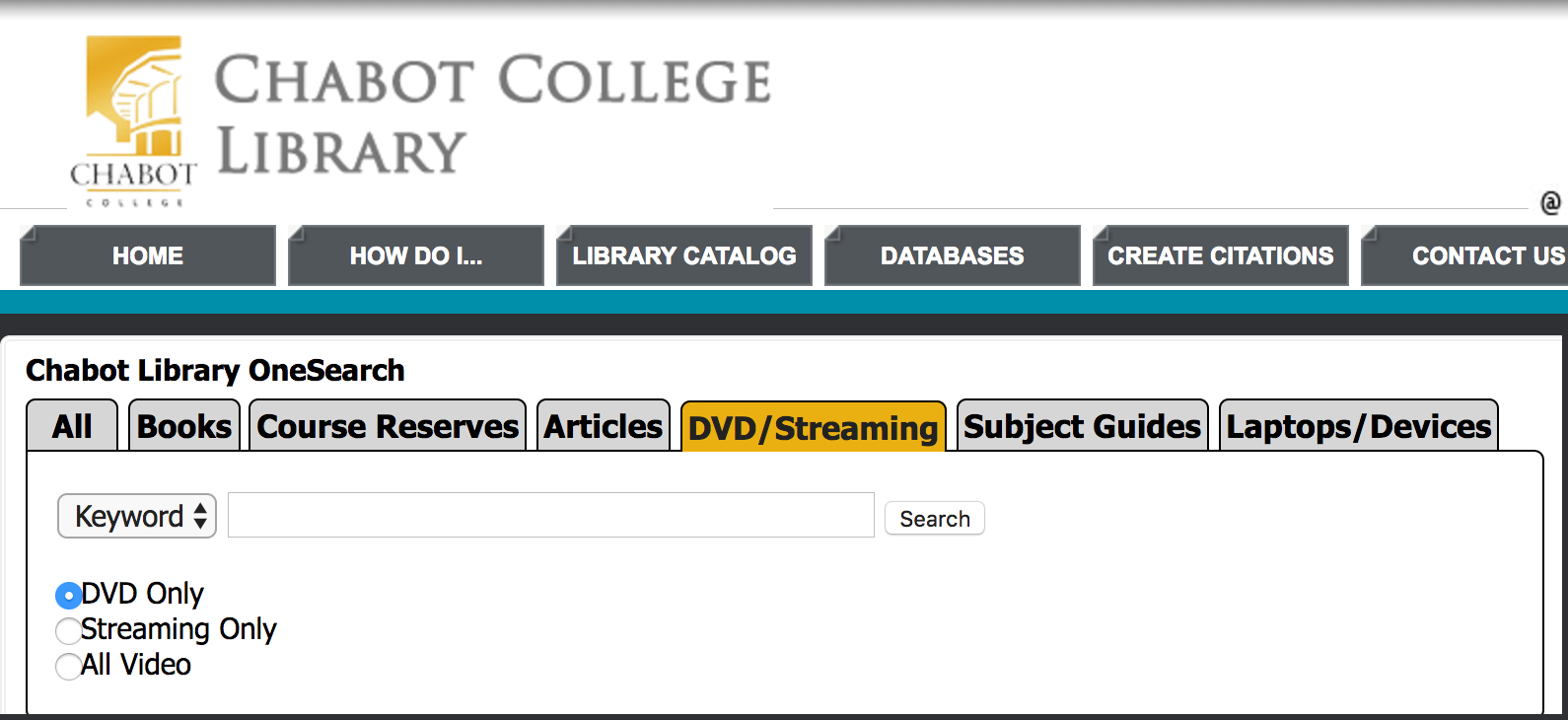 Screen shot of DVD streaming search on library home page.