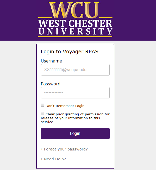 WCU log in screen