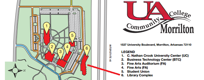 Map of UACCM west campus with arrow pointing to the physical location of the Library Complex building