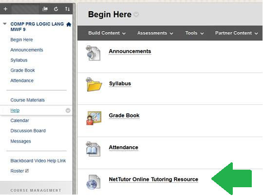 "Screenshot of the BlackBoard ""Begin Here"" page with an arrow pointing to the location of the NetTutor tool link"